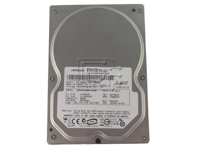Hitachi 0A33982 HDS721680PLA380 SATA Hard Drive image 1