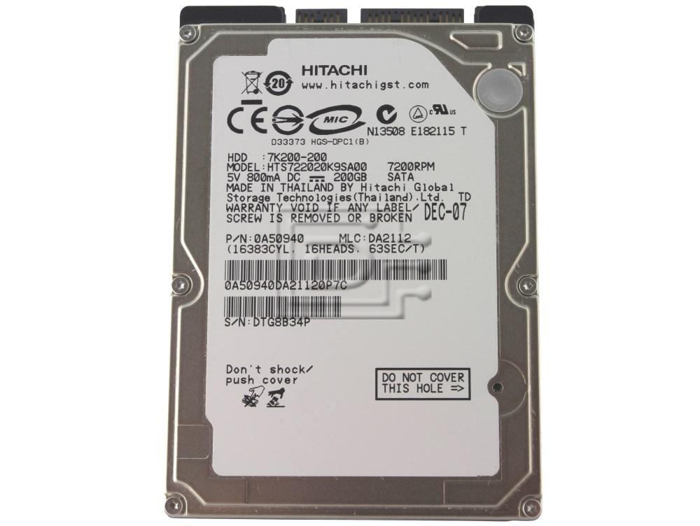 "Hitachi 0A50940 HTS722020K9SA00 Laptop SATA 2.5"" Hard Drive image 1"