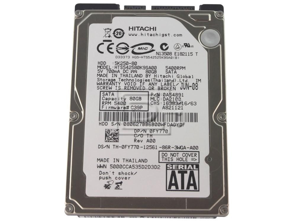 Hitachi 0A54891 HTS542580K9SA00 Laptop SATA Hard Drive image 1