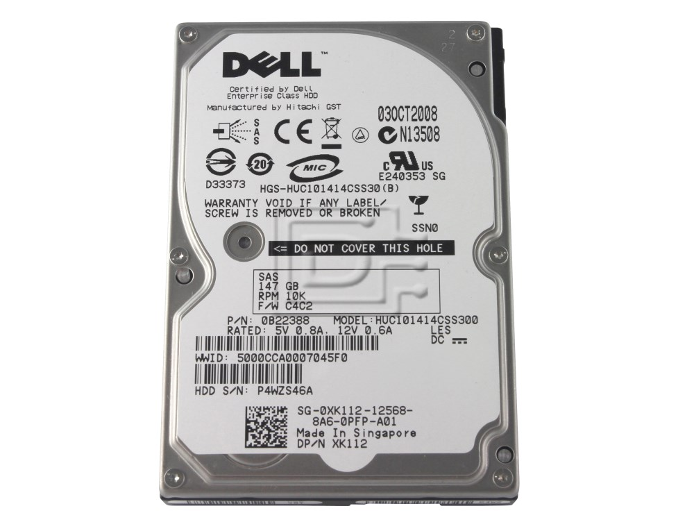 HUC101414CSS300 147GB 10K 3.0Gbps DELL XK112-DEL Dell Ultrastar C10K147 XK112
