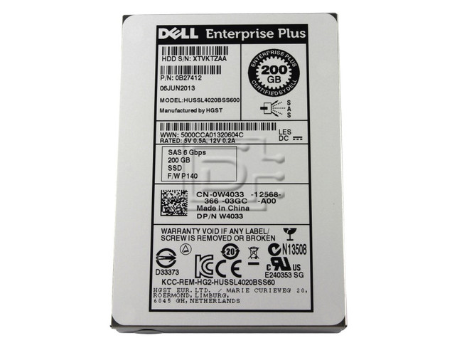 Hitachi 0B27412 HUSSL4020BSS600 W4033 0W4033 Hitachi 200GB SAS SSD SLC Drive image 1