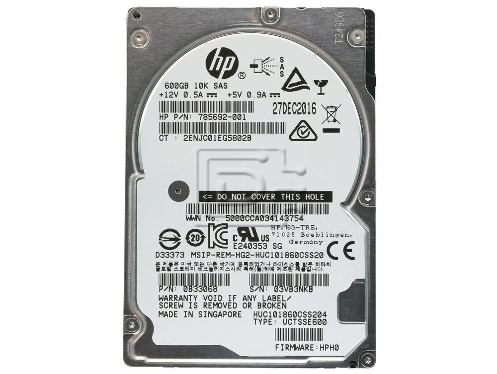 Hitachi 0B33068 HUC101860CSS204 785692-001 SAS Hard Drives image 2