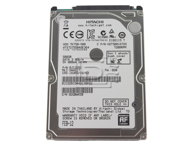 Hitachi Travelstar 7K750 HTS727550A9E364 / 0J12281 Laptop SATA Hard Drive