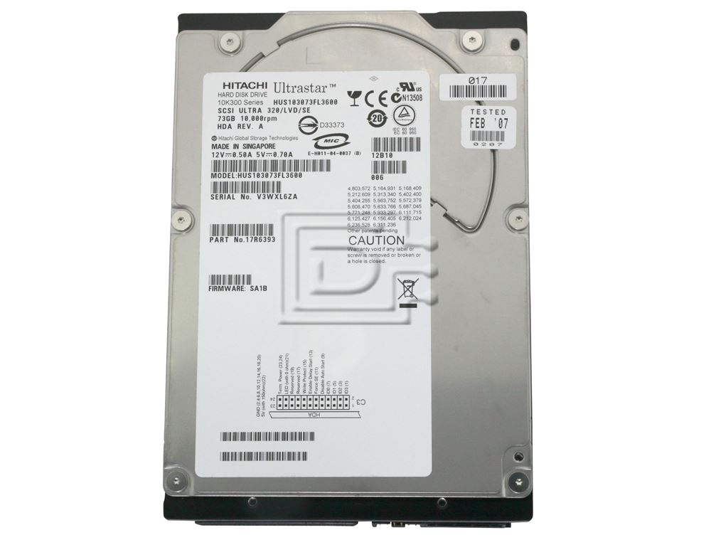 Hitachi 17R6393 HUS103073VL3600 SCSI Hard Drives image 2