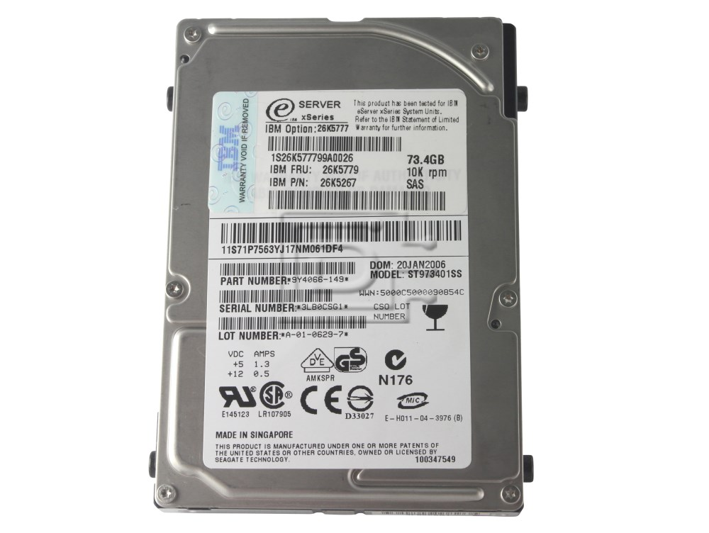 IBM 26K5777 39R7389 39R7391 9Y4066 ST973401SS 26K5267 26K5779 SAS Hard Drives image 4