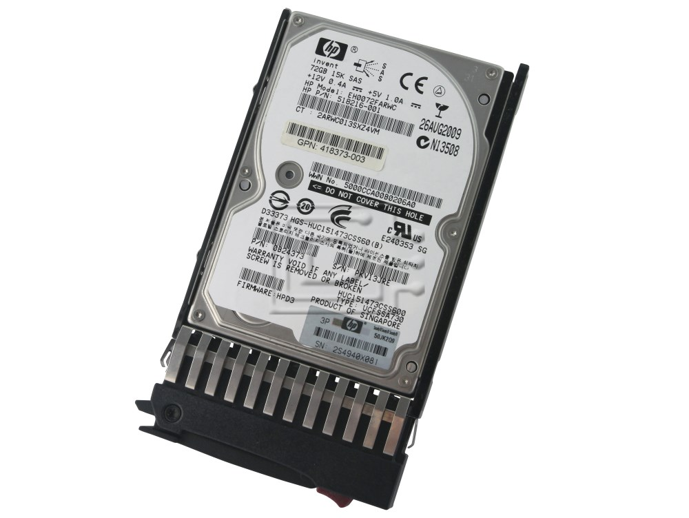 HEWLETT PACKARD 512545-B21 512743-001 EH0072FARUA CA07069-B10100CP 507129-008 518216-001 SAS Hard Drives image 1
