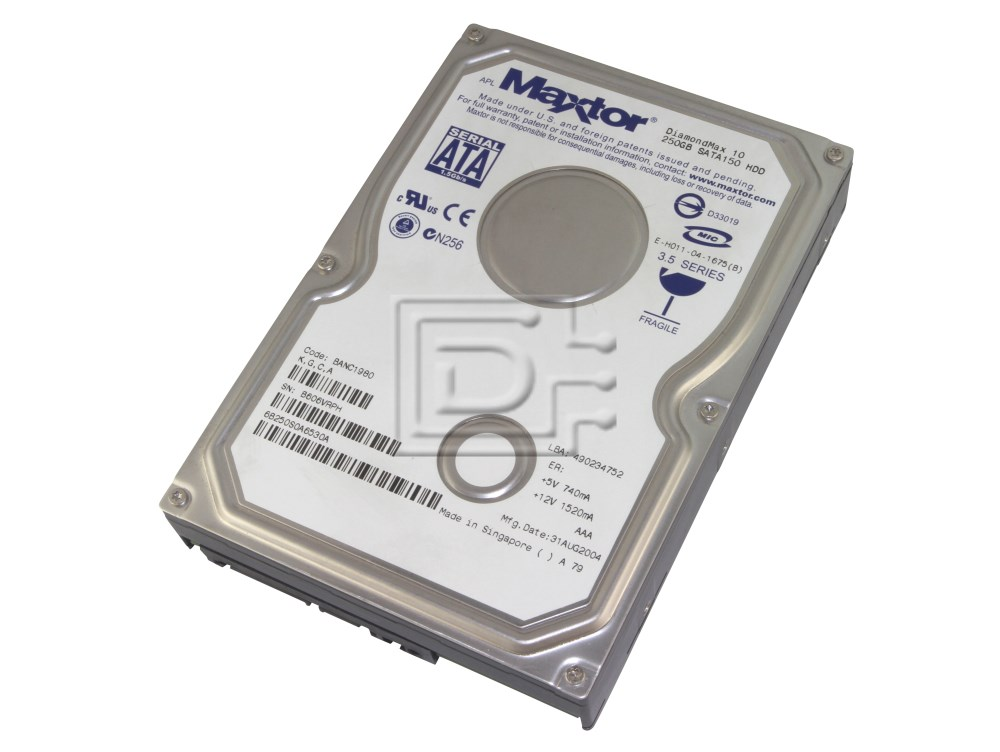 SATA Internal Hard Drive 7200RPM Maxtor 6L250M0 250GB