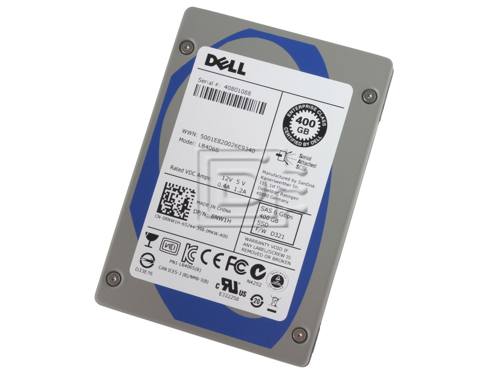 SANDISK LB406S 8NW1H 08NW1H 400GB SAS SSD Drive image 1