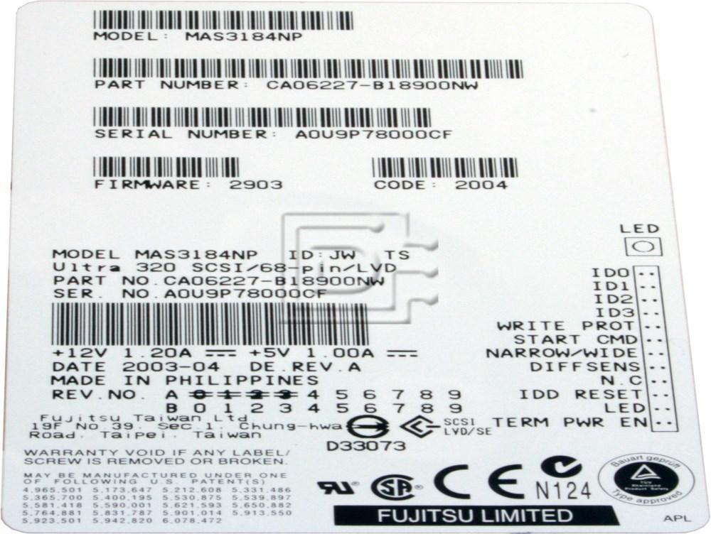 FUJITSU MAS3184NP SCSI hard disks image 2