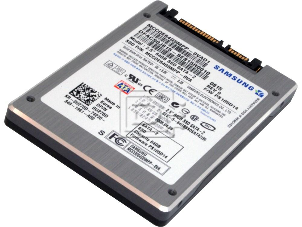 "SAMSUNG MCCOE64G5MPP-0VA MCCOE64G5MPP0VA00 0U270D U270D DFCHW0J816 SE816A0003 Laptop SATA 2.5"" SSD Solid State Hard Drive image 1"