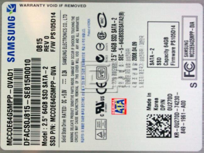"SAMSUNG MCCOE64G5MPP-0VA MCCOE64G5MPP0VA00 0U270D U270D DFCHW0J816 SE816A0003 Laptop SATA 2.5"" SSD Solid State Hard Drive image 2"