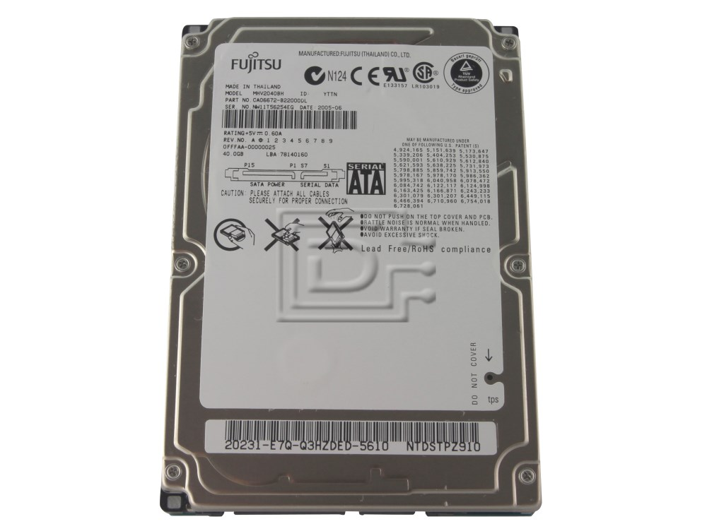 "FUJITSU MHV2040BH Laptop SATA 2.5"" Hard Drive image 1"