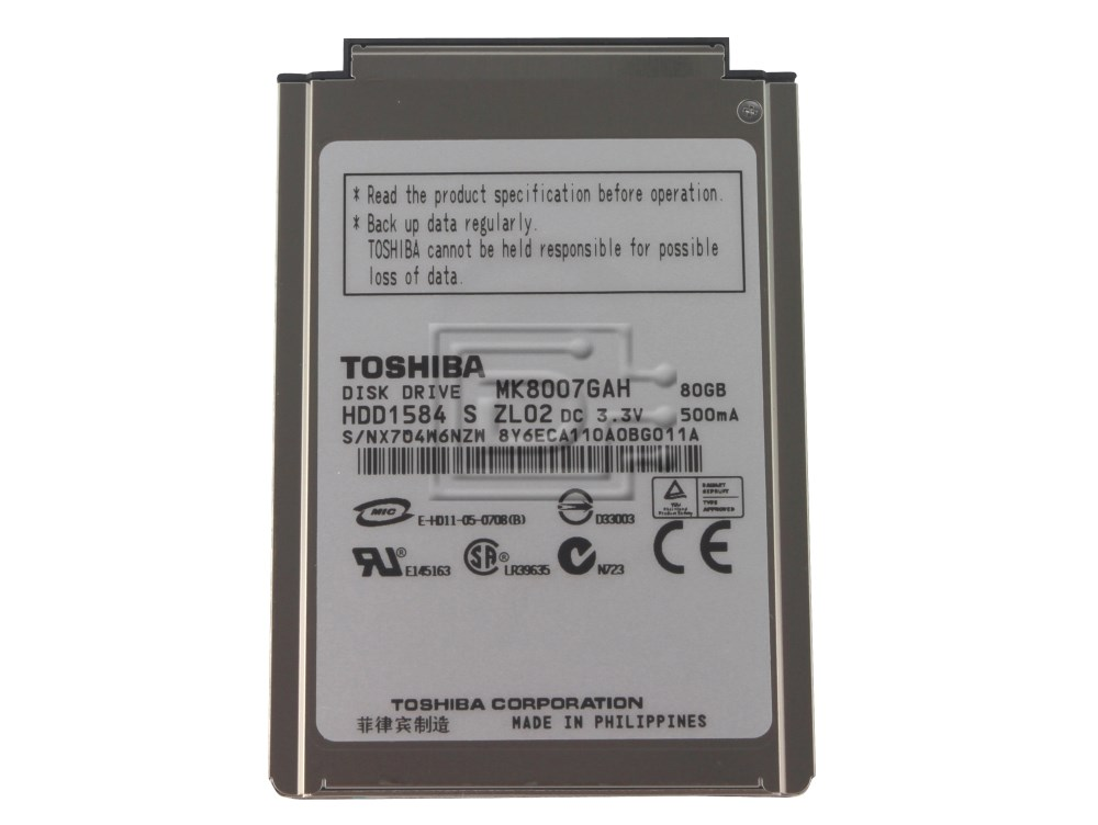 "Toshiba MK8007GAH HDD1584 Laptop 1.8"" IDE ATA100 Hard Drive image 1"