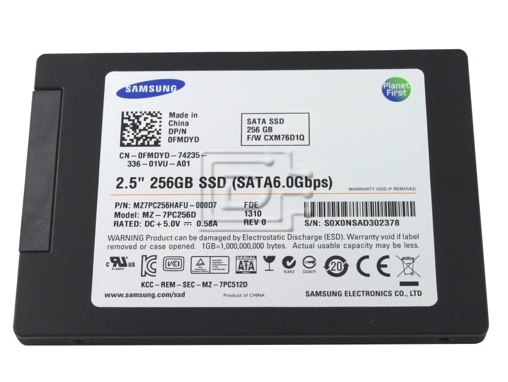 SAMSUNG MZ-7PC256D 0T5YVC T5YVC 0FMDYD FMDYD MZ7PC256HAFU MZ7PC256HAFU-000D7 Samsung SATA III SSD Solid State Drive image 1