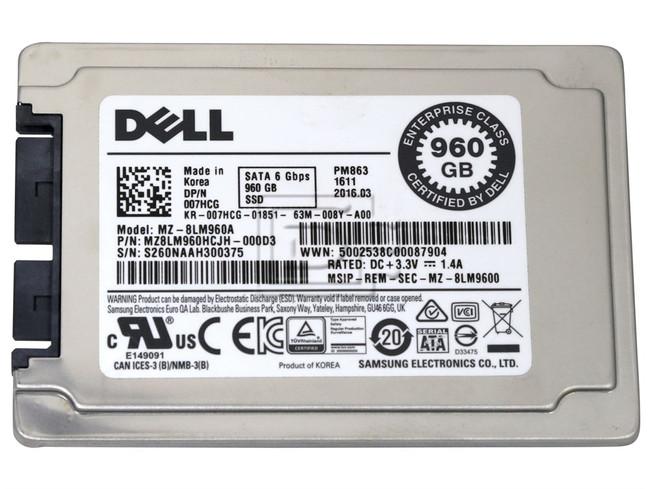 Dell Samsung PM863 MZ-8LM960A 07HCG 1 8in Micro SATA 960GB SSD