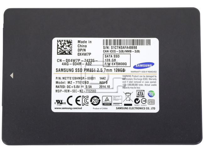 SAMSUNG MZ7TE128HMGR-111D1 MZ-7TE128D X4W7P 0X4W7P MZ7TE128HMGR-000D1 SATA SSD 128GB image 2