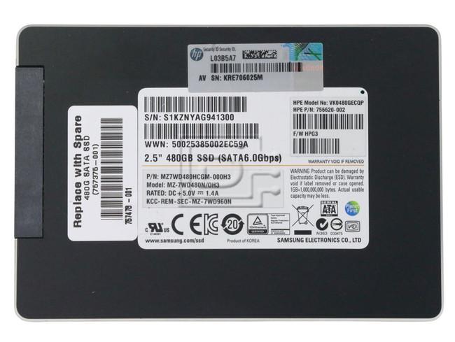 SAMSUNG MZ7WD480HCGM MZ7WD480HCGM-000H3 MZ7WD480HCGM-000H2 756620-002 MZ-7WD480N/0H3 SATA SSD image 2
