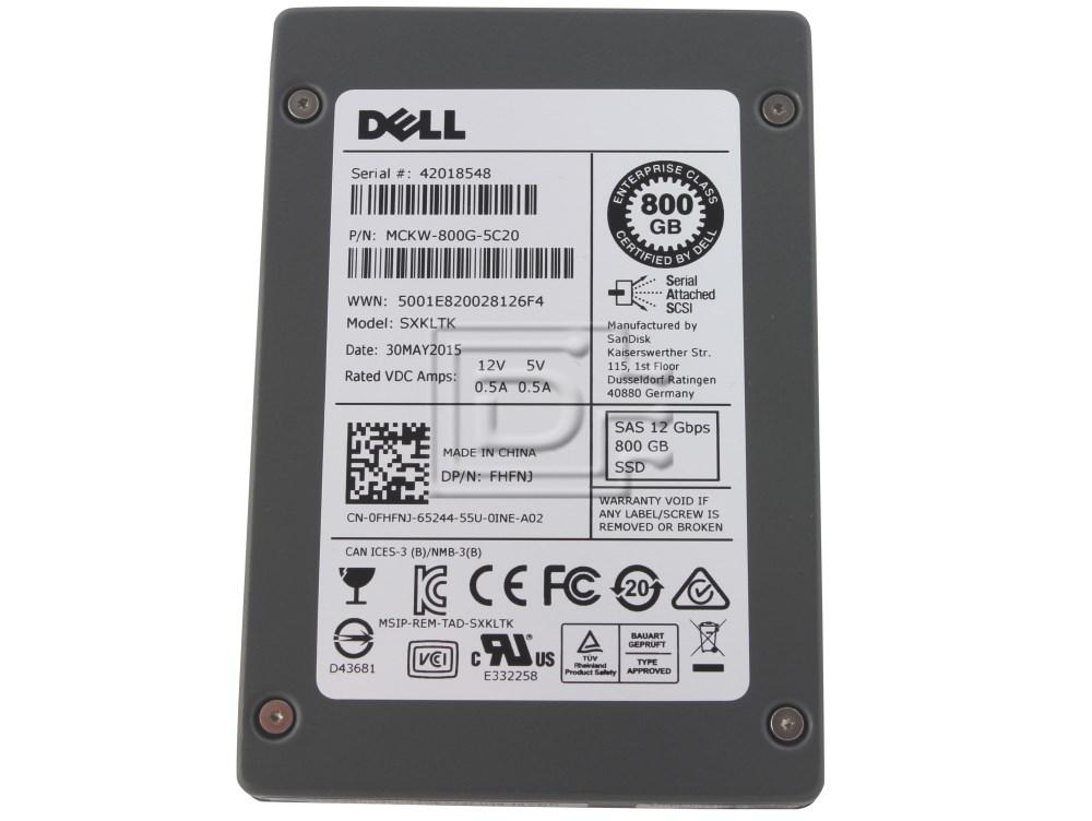 SANDISK SDLTMCKW-800G-5C20 FHFNJ 0FHFNJ SAS Solid State Drive image 1