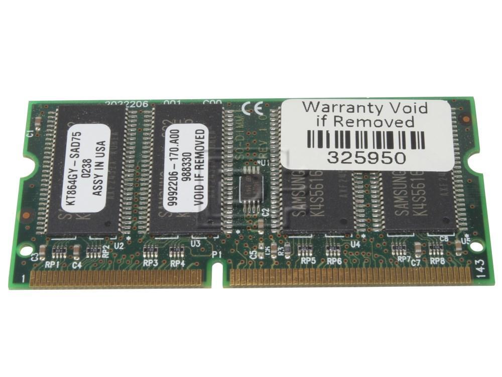 Crucial RAM-SODIMM-256MB-UP-OE MT8LSDT3264HG-133B1 PC133S-33-542 HYM72V32M636BT6-H M464S3254DTS-L7A NT256S64VH8A0GM-75B MT8LSDT3264HG KT864GY-SAD75 256MB RAM SODIMM Module image 1
