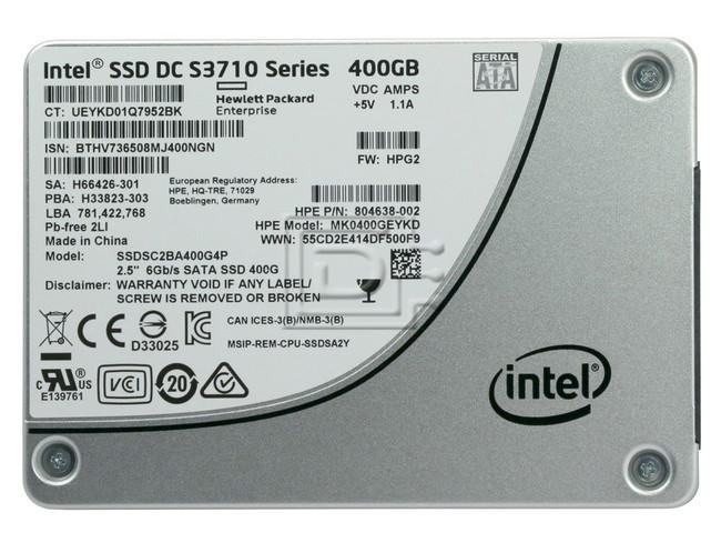 INTEL SSDSC2BA400G4P 804638-002 SSDSC2BA400G4 SSDSC2BA400G4P1 SSDSC2BA400G4-HPE SSDSC2BA400G401-HPE SATA Solid State Drive image 2
