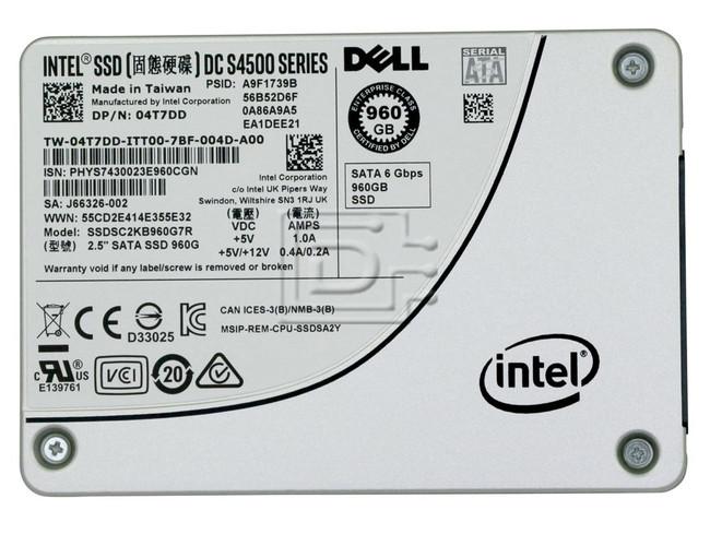 INTEL SSDSC2KB960G7R 4T7DD 04T7DD T50K8 0T50K8 960GB 2.5 SSD SATA image 2