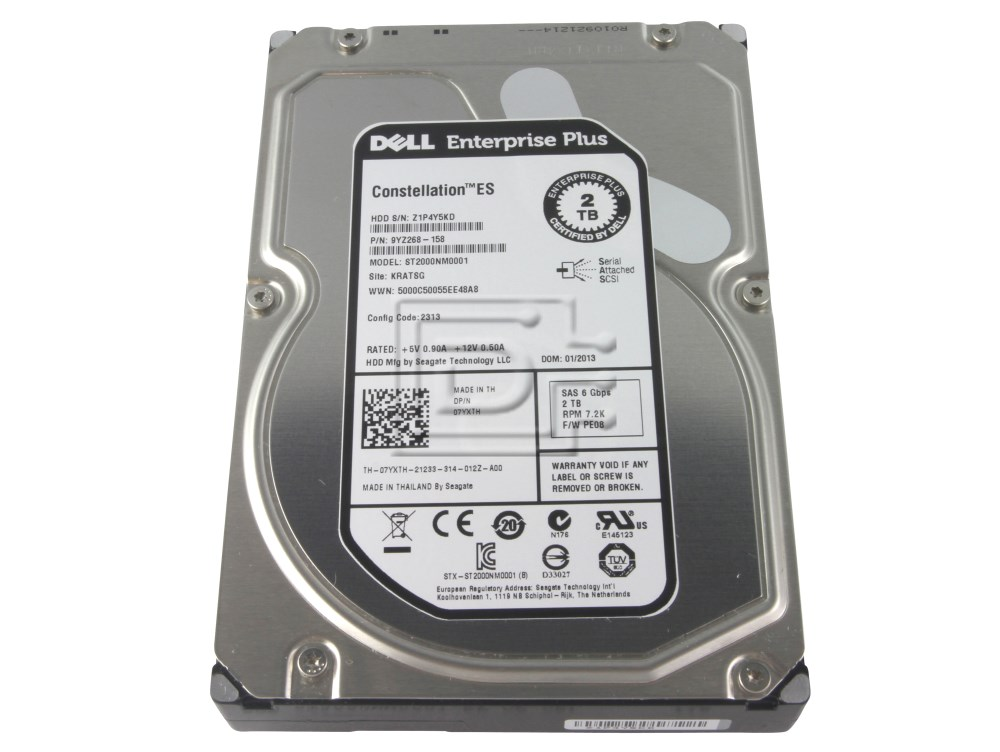 Seagate ST2000NM0001 7YXTH 07YXTH 9YZ268-158 Dell Enterprise Plus SAS Hard Drive