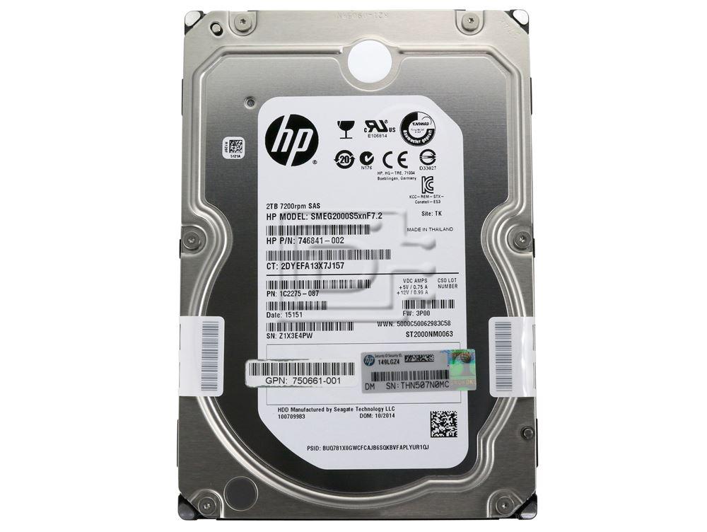 Seagate ST2000NM0063 746841-002 750661-001 1C2275-087 SMEG2000S5xnF7.2 602119-001 SAS Hard Drive image 2