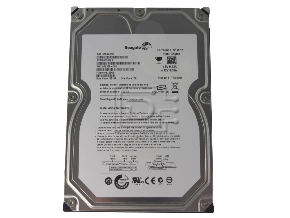 Seagate ST31000333AS SATA Hard Drive image 1