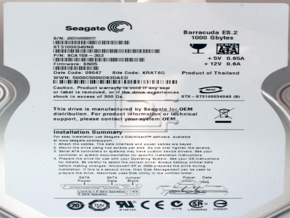 Seagate ST31000340NS 0DP279 DP279 9CA158-053 SATA Hard Drive image 2