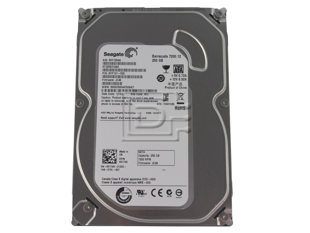 "Seagate ST3250312AS Barracuda 7200.12 250GB SATA 3.5/"" Internal Hard Drive"