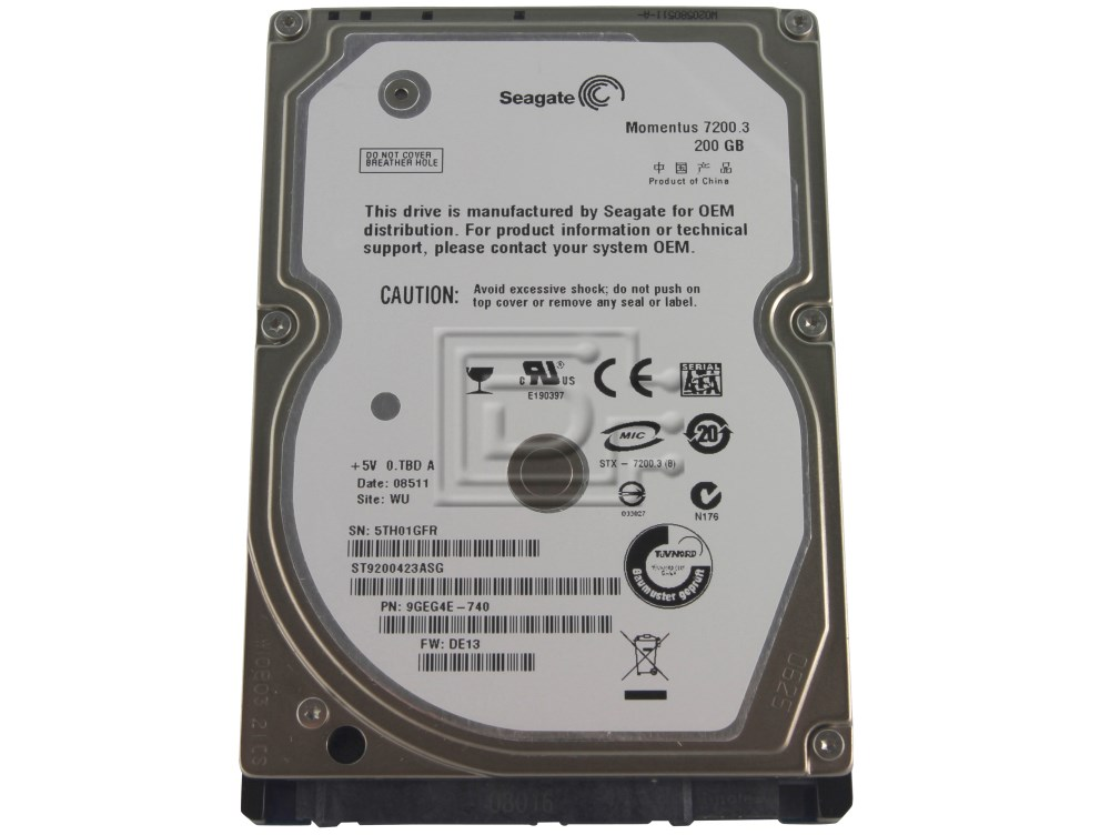 "Seagate ST9200423ASG SATA 2.5"" 72K 72000RPM Hard Drive image 1"
