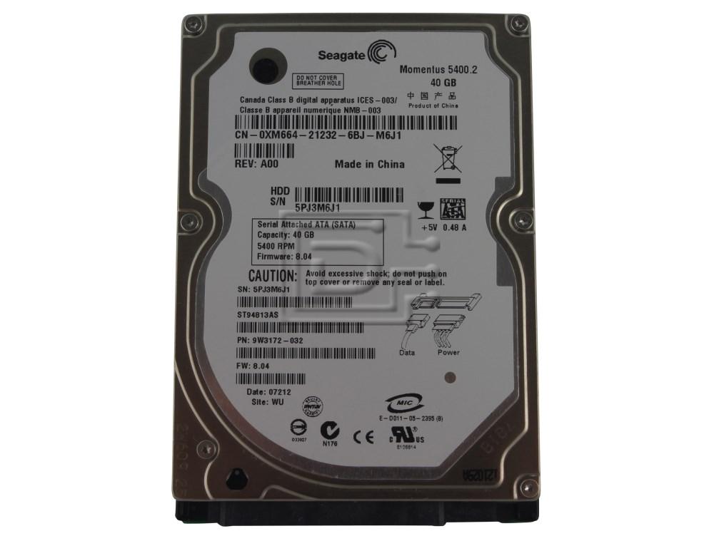 "Seagate ST94813AS XM664 0XM664 9W3172-032 SATA 2.5"" Hard Drive Samsung HHM160HI image 1"