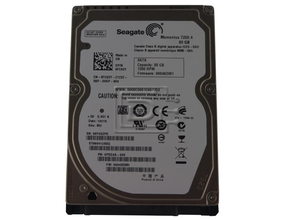 Seagate ST980412ASG FC63Y 0FC63Y SATA Hard Drive image 1