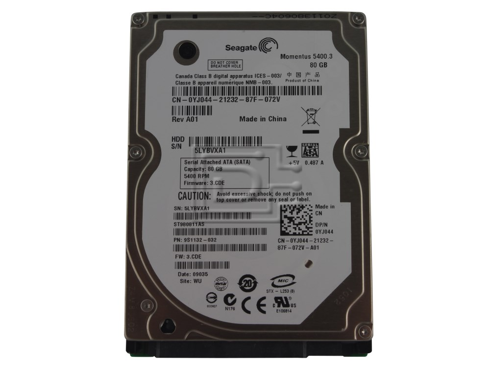 Seagate ST980811AS 0YJ044 YJ044 SATA Hard Drive image 1