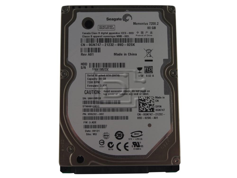 Seagate ST980813ASG 0GN747 GN747 SATA Hard Drive image 1