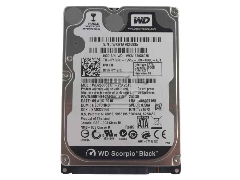 """Western Digital WD2500BEKT Y19R3 0Y19R3 2.5"""" SATA Hard Drive image 1"""