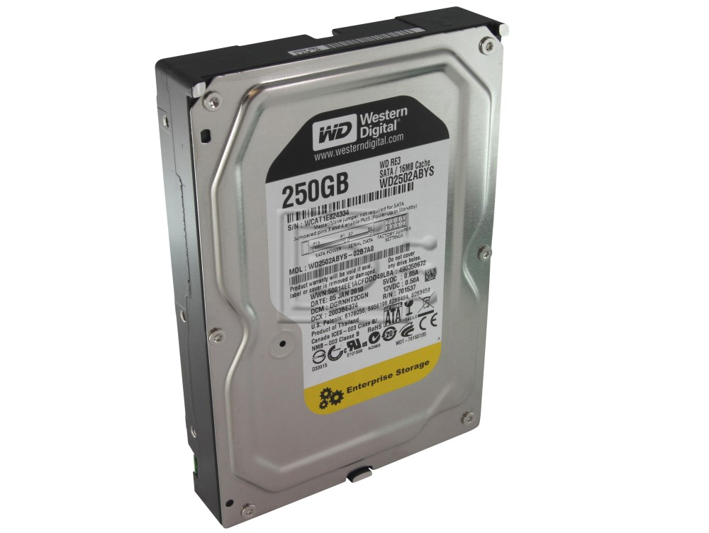 Western Digital WD2502ABYS Western Digital Caviar RE3 WD2502ABYS 250GB 7.2K Enterprise SATA Hard Drive image 2