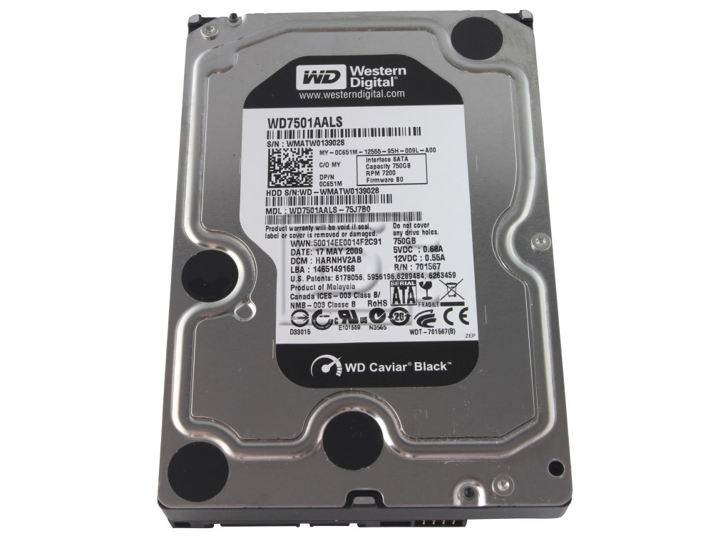 Western Digital WD7501AALS C651M 0C651M SATA Hard Drive image 2