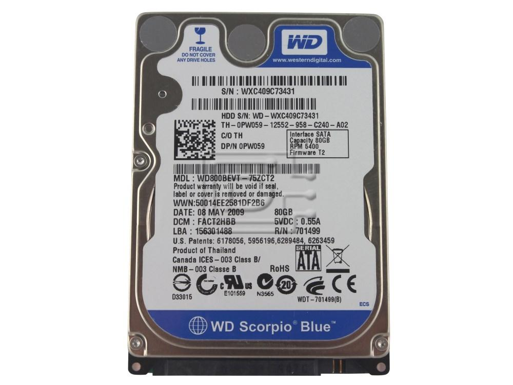 "Western Digital WD800BEVT 0PW059 PW059 2.5"" SATA Hard Drive image 1"