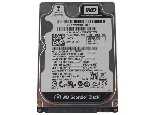 """Western Digital WD800BJKT F314G 0F314G SATA Hard Drive 2.5"""" 320GB 7.2K 72000 RPM image 1"""