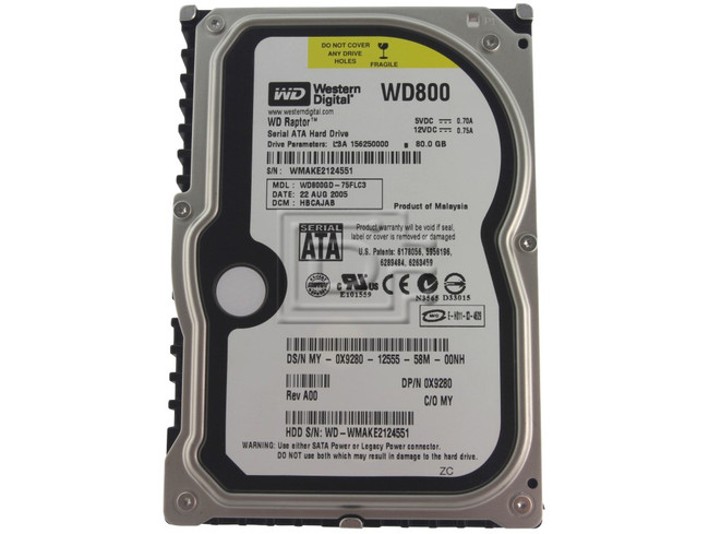 Western Digital WD800GD 0X9280 X9280 Raptor SATA Hard Drive image 1